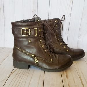 EUC G by Guess Brown Buckle Combat Boots Size 7